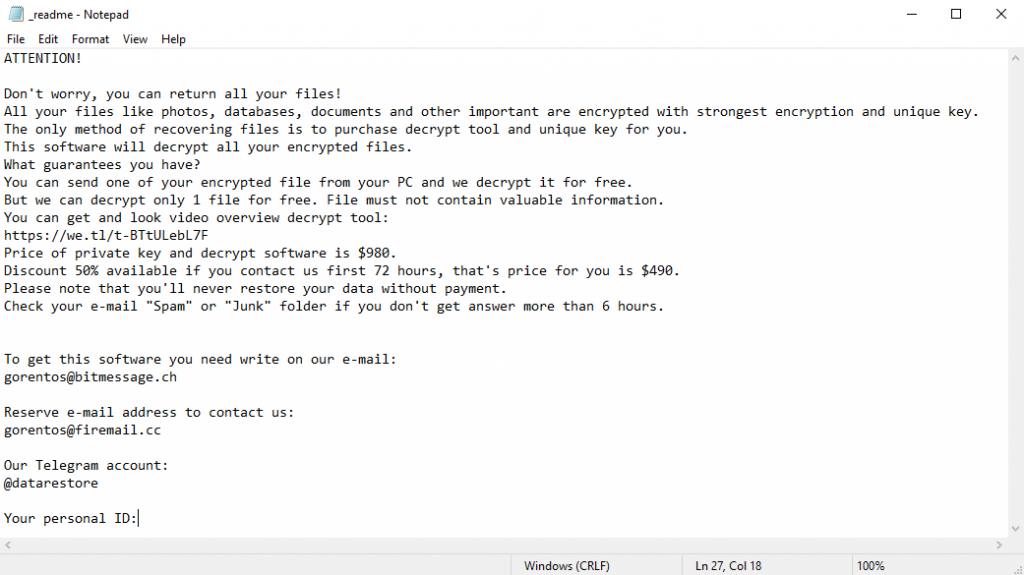 Ransom note created by STOP/Djvu ransomware
