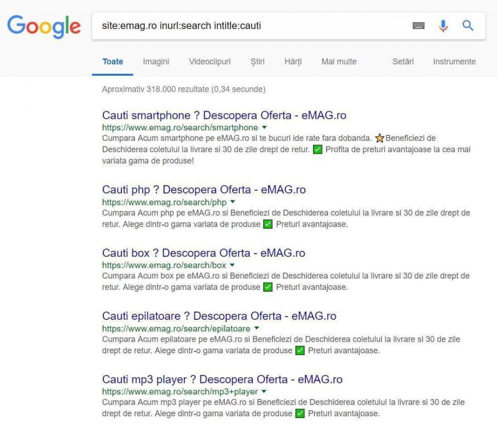 Doorway websites in the Google search