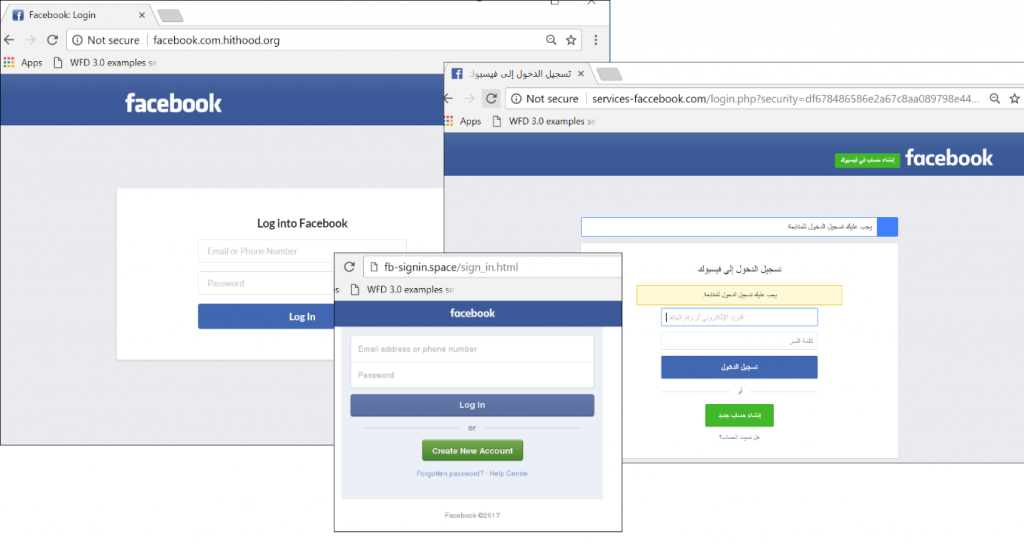 Phishing page that mimic the Facebook