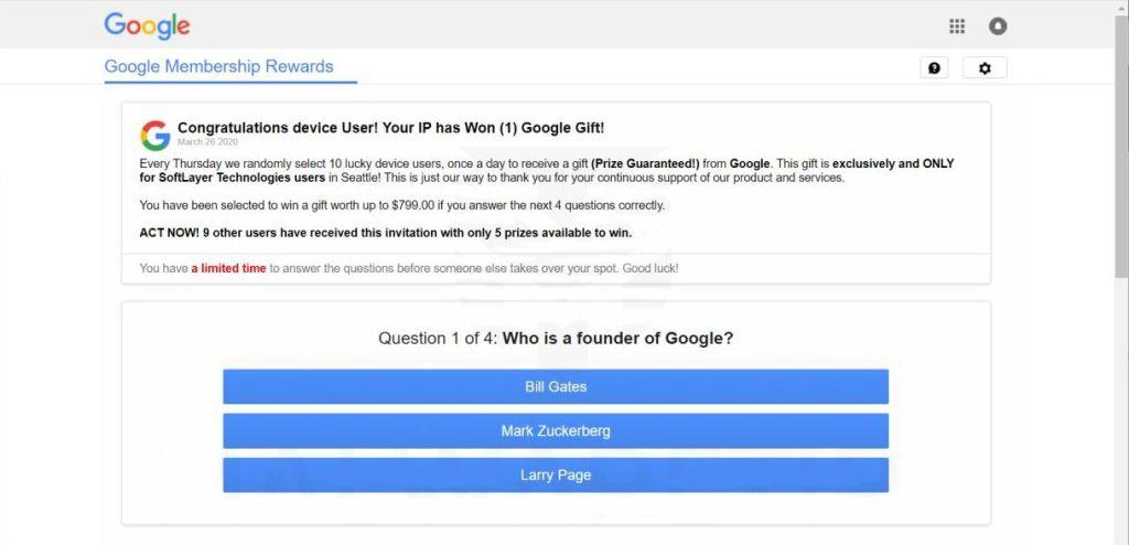 Google membership reward scam